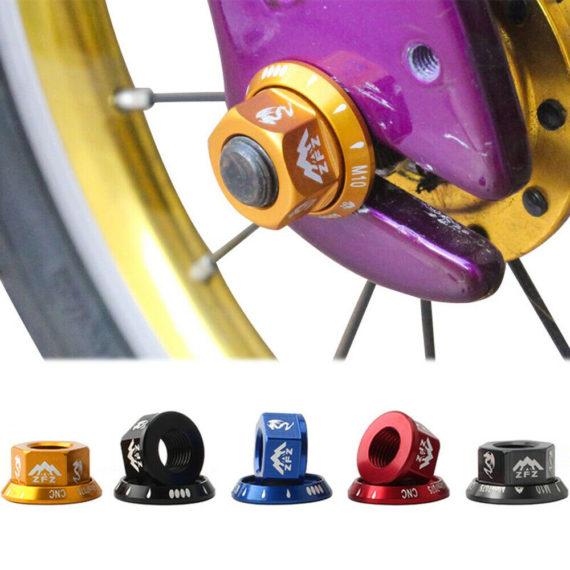 2pcs M10 Folding Bike Rear Axle Aluminum Alloy Fixed Gear Screw Bolt Hub Nut n