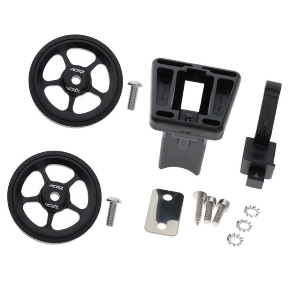 Pair Folding Bike Easy Wheel Walking Easy Wheels Front Carrier Block Adapter