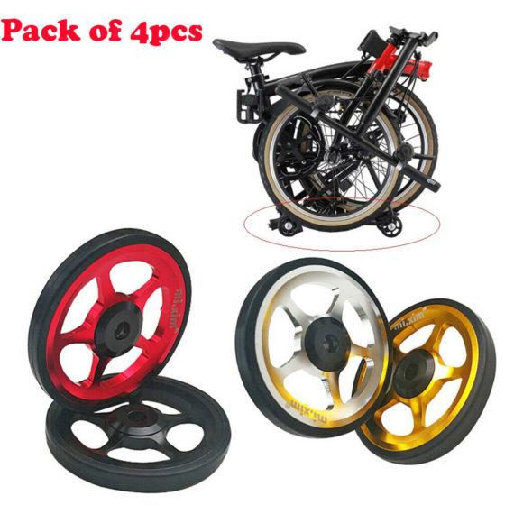 4pcs Solid Folding Bike Wheel Easy to Walk Carrying EZ Wheels for