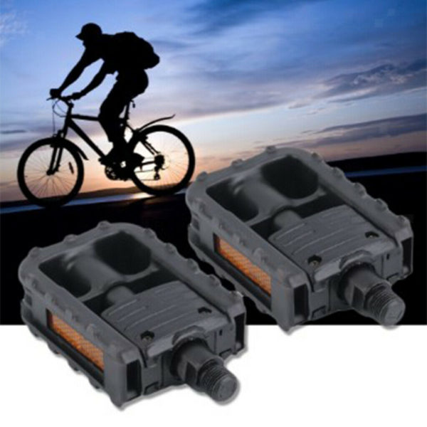 "9/16"" Durable Folding Bike Pedals Black Nylon Bicycle Flat Platform Pedals with"