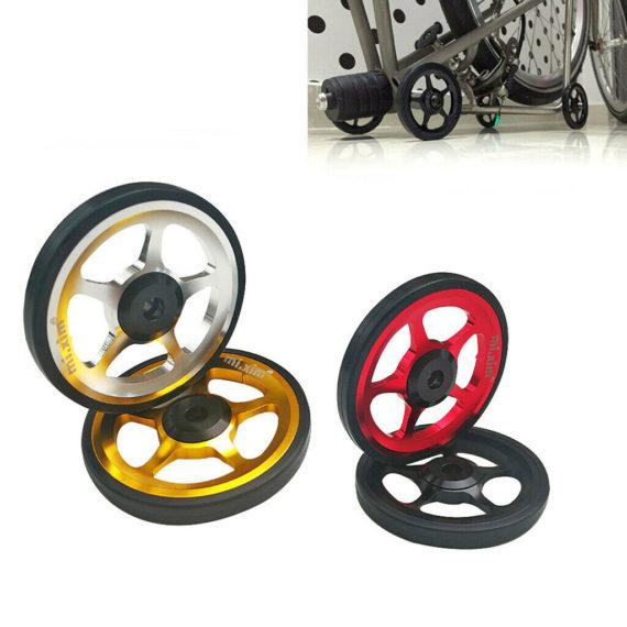 2Pcs Folding Bike Easy Wheels 6cm Refit Parking Pushing Easywheel for Brompton