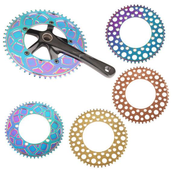 Road Folding Bike Chainring 130BCD Crankset 53T 56T Aluminum Alloy Colorful Disc