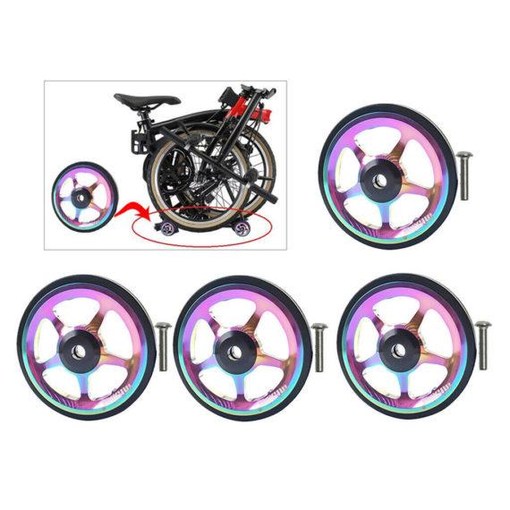 4x Folding Bike Easy Wheel Easywheel Cycle Refit Transport EZ Wheel For Brompton