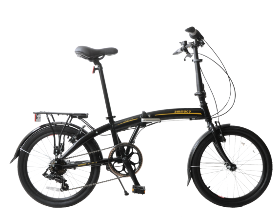 """Folda Lite 20"""" Wheel Folding Bike Commuter Caravan 7 Speed Lightweight Black"""
